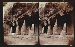 View from the right of the façade of Buddhist vihara, Cave XVII, Ajanta